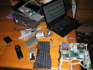 Disassembled laptop